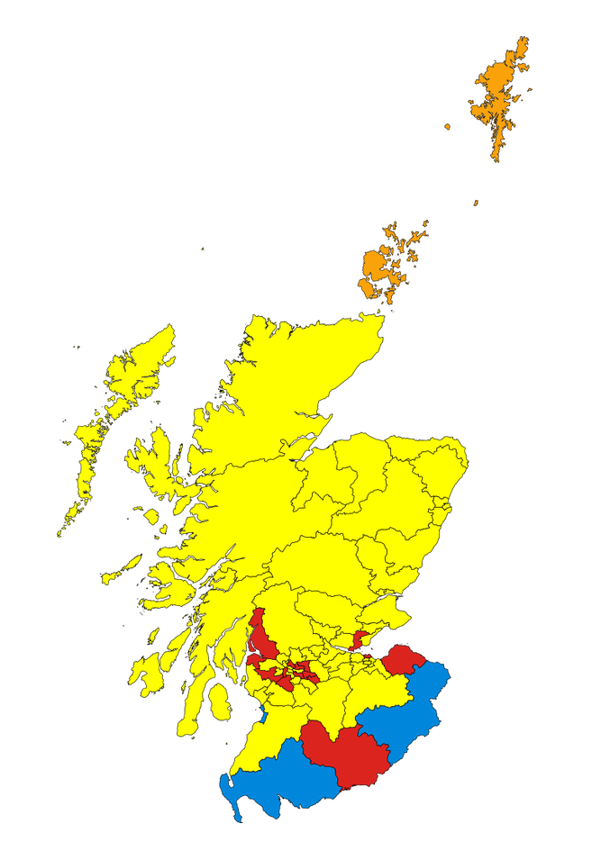 The results of the Constituency Vote in 2011. The winners are indicated by the colour of their associated party. Yellow - SNP, Red - Labour, Orange - Liberal Democrat and Blue - Conservative.