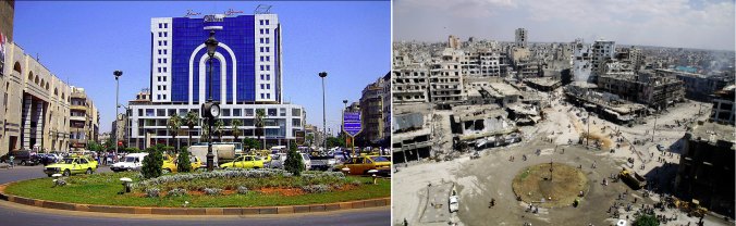 The Old Clock Square in Hom, Syria. Left - Before the war. Right - The ruins of the war.