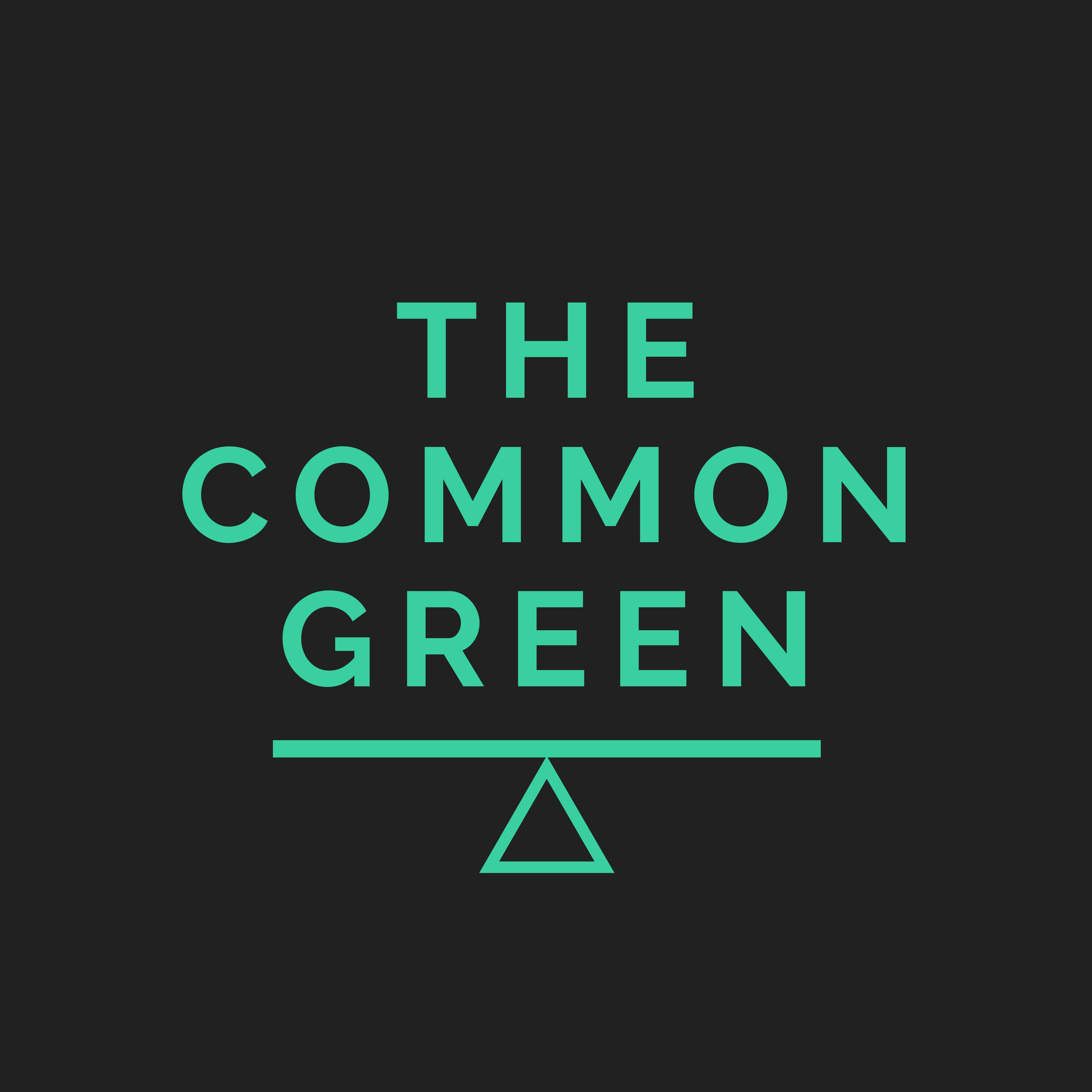 """The Common Green logo comprising the words """"The Common Green"""" above the Common Weal """"balance"""" icon"""