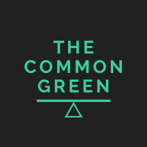 "The Common Green logo comprising the words ""The Common Green"" above the Common Weal ""balance"" icon"