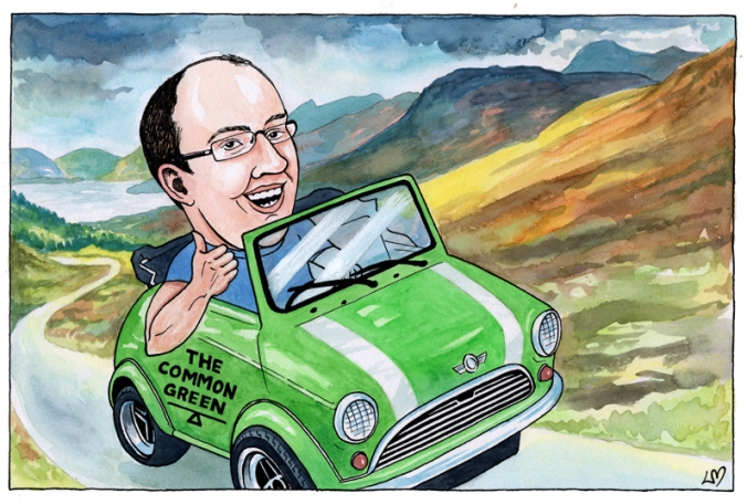 A caricature of Craig Dalzell driving an open topped mini through the Scottish Highlands.